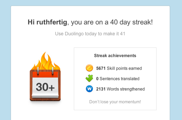 Duolingo encouragement