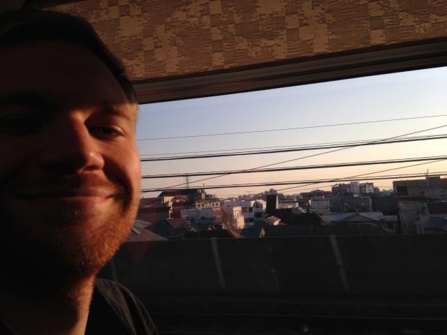 4pm on the narita express into tokyo