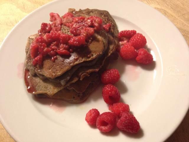 raspberry buckwheat pancakes